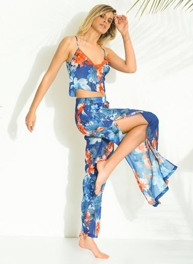 Morhipo Beach Çiçek Desenli Pantolon Mavi